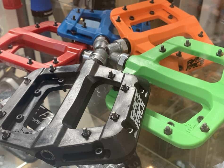 multi-colored mountain bike pedals