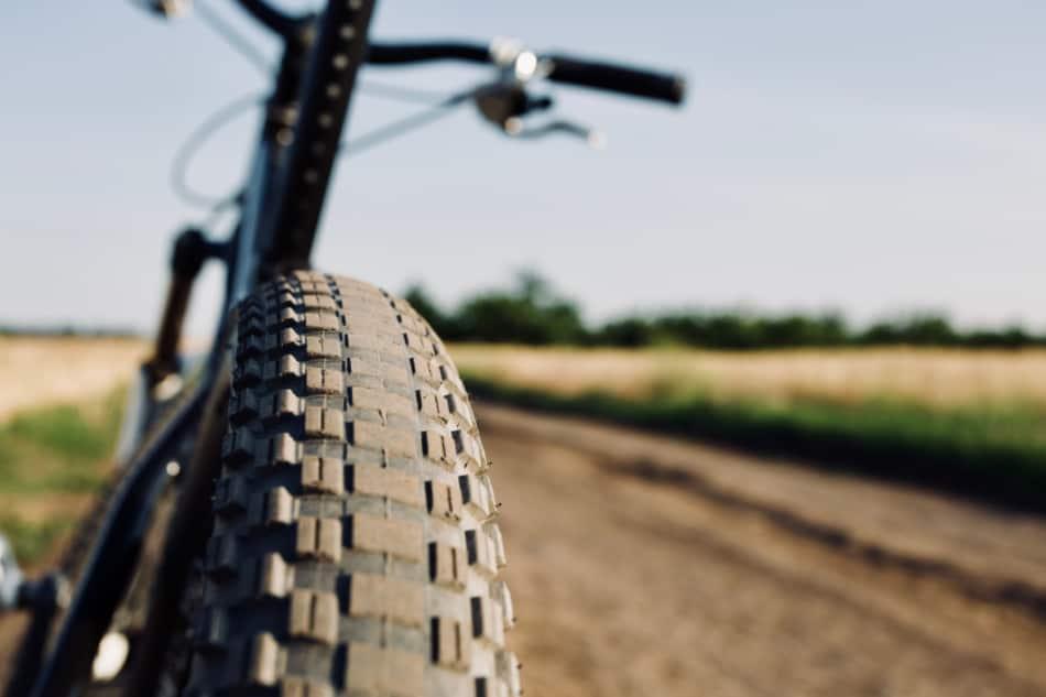 closeup of mountain bike tire
