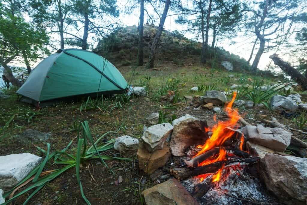 green tent in the woods by campfire