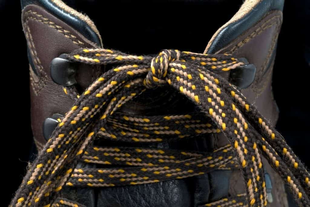close-up view of hiking boot laces