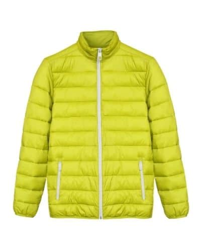 Yellow sewn-through down jacket